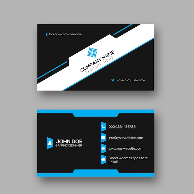 Creative dark business card design Vetor Premium