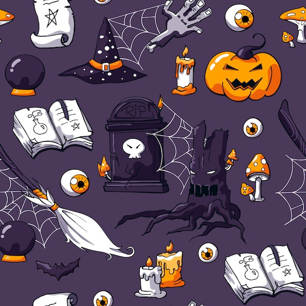 Creepy seamless halloween doodle padrão com coisas mágicas Vetor Premium