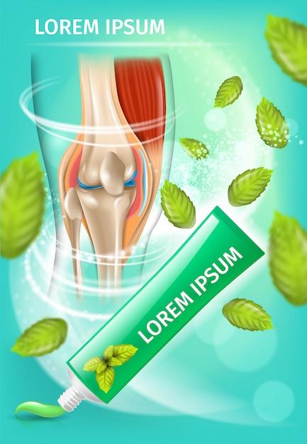 Creme anti artrite com banner promocional de hortelã Vetor Premium