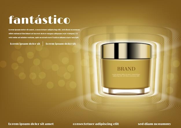 Creme cosmético ouro com efeito de luzes brilhantes Vetor Premium