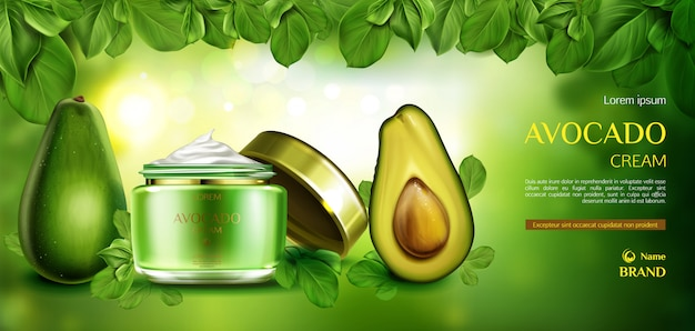 Creme de cuidados da pele cosméticos de abacate. Vetor grátis