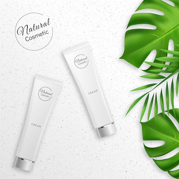 Creme realista com produtos cosméticos naturais Vetor Premium