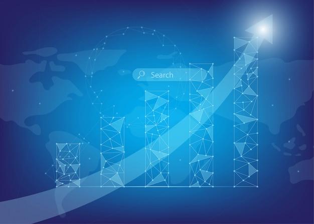 Crescendo infográfico com pontos baixos de luz e poli Vetor Premium
