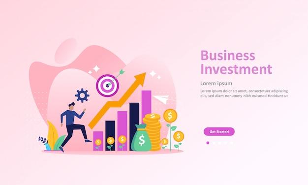 Crescendo uma página de destino financeira bem-sucedida Vetor Premium