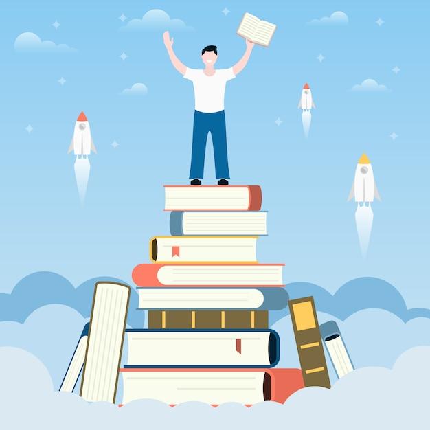 Crescer como pessoa lendo livros. Vetor Premium