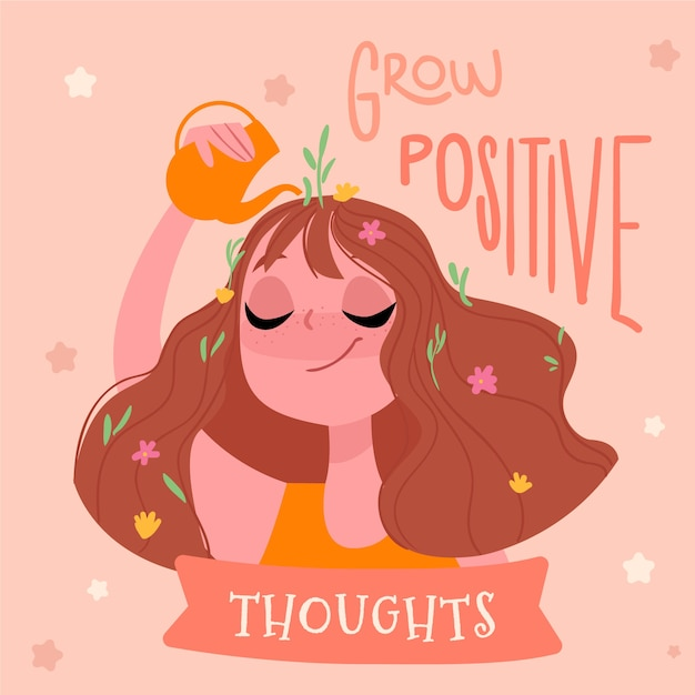 Crescer pensamentos positivos auto amor letras Vetor grátis