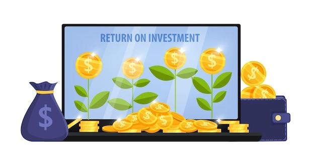 Crescimento da renda, conceito de retorno do investimento com tela do laptop, plantas de dinheiro, bolsa, pilha de moedas de dólar, carteira. Vetor Premium