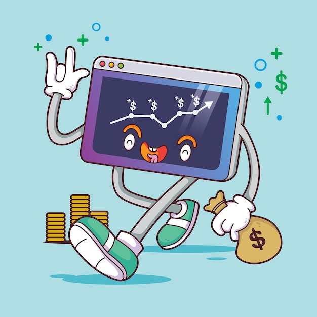 Crescimento da renda do caráter comercial Vetor Premium