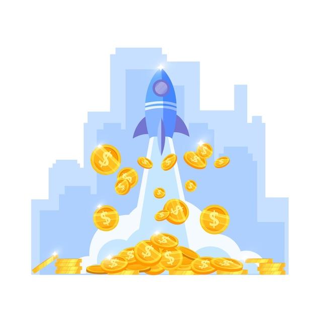 Crescimento da renda ou aumento do dinheiro ilustração vetorial de finanças com lançamento de navio, moedas de ouro, contorno do centro da cidade. Vetor Premium