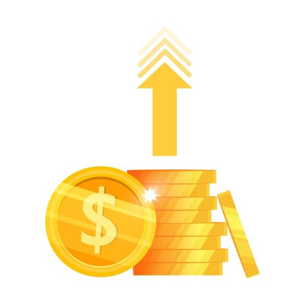 Crescimento da renda, retorno do investimento ou ilustração do dinheiro do aumento da receita com pilha de moedas de dólar, seta. Vetor Premium