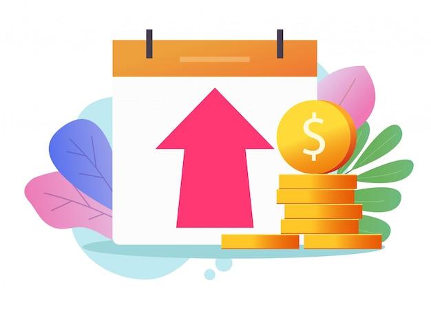 Crescimento do lucro monetário ou benefício da economia em dinheiro investimento gráfico ilustração ícone, conceito de valor da inflação econômica Vetor Premium