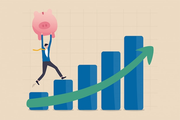 Crescimento, prosperidade econômica ou retorno do crescimento nas economias e no conceito de investimento, investidor confiante do empresário mantém o cofrinho rosa rico subindo a subir o gráfico de barras do mercado de ações da seta verde. Vetor Premium