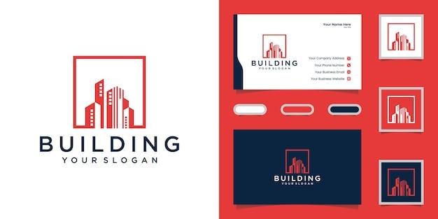 Criação de logotipo com modelo de design quadrado e cartão de visita Vetor Premium