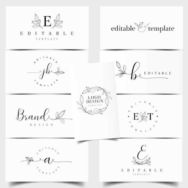 Criador de logotipo floral Vetor Premium