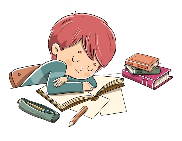 Criança cansada de estudar Vetor Premium