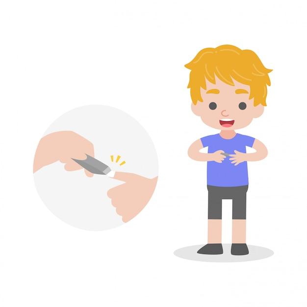 Criança cortar seus caracóis conceito de assistência médica Vetor Premium