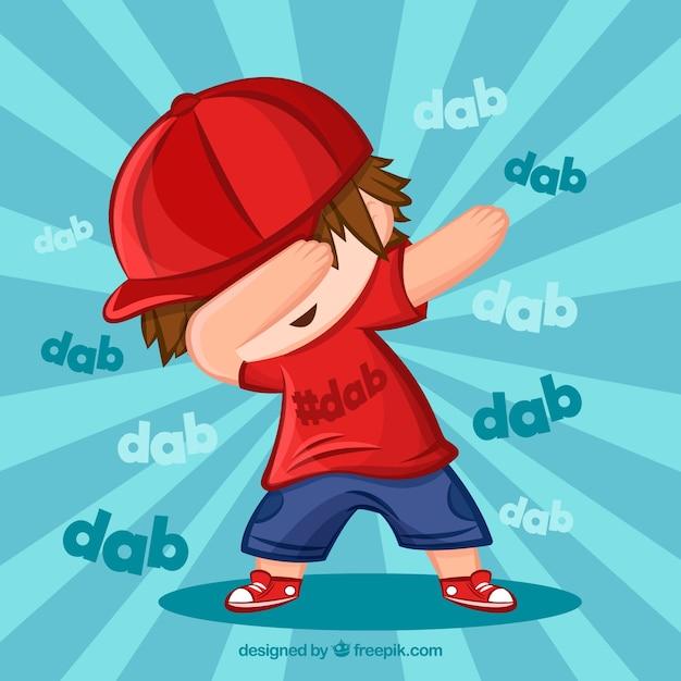 Criança, dabbing, movimento Vetor grátis