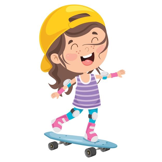 Criança feliz andando de skate lá fora Vetor Premium