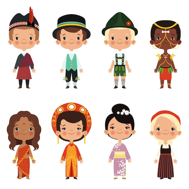 Criança feliz de várias nacionalidades Vetor Premium