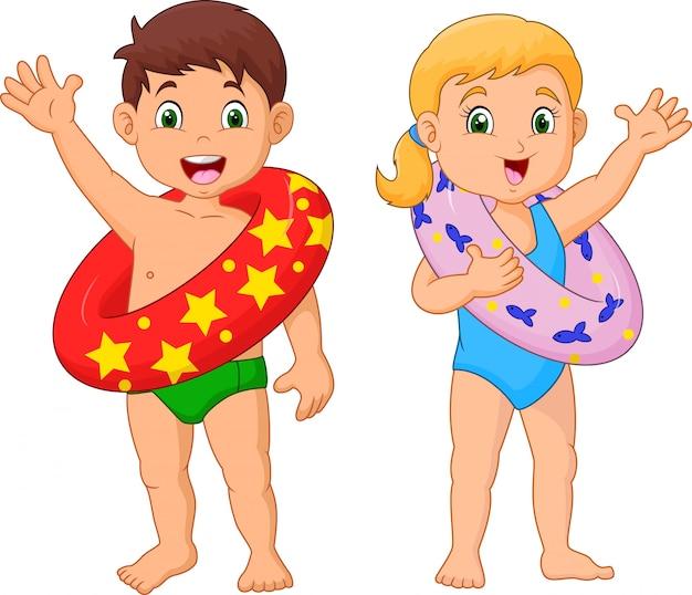 Criança feliz dos desenhos animados com anel inflável Vetor Premium