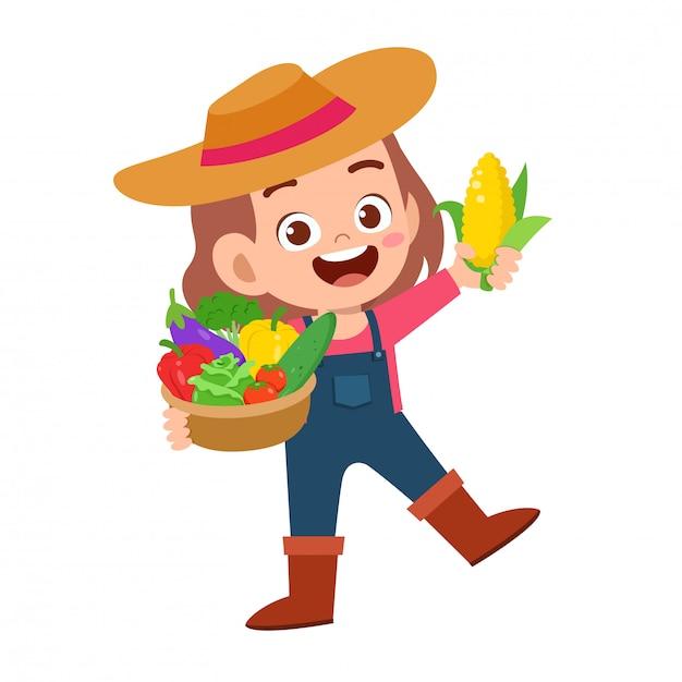Criança feliz fofa colhe frutas e legumes Vetor Premium
