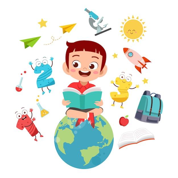 Criança feliz lê livros sobre o globo do mundo Vetor Premium