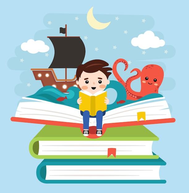 Criança feliz lendo com livros e história de piratas Vetor Premium