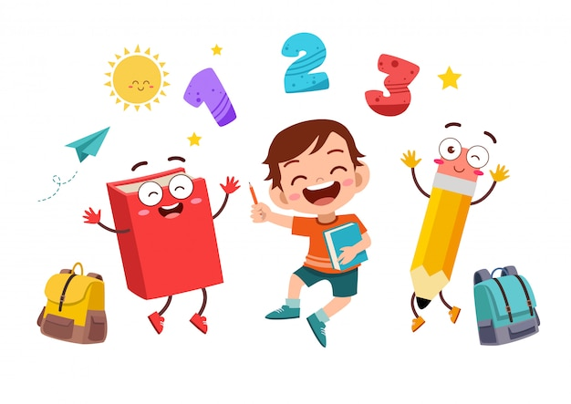 Criança feliz na escola Vetor Premium