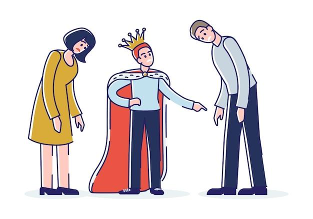 Criança mimada com pais cansados. filho egoísta usando coroa, gritando com a mãe e o pai. personagens de desenhos animados familiares Vetor Premium