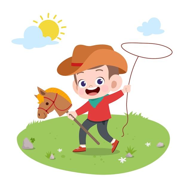 Criança, montando, cavalo, vetorial, ilustração, isolado Vetor Premium