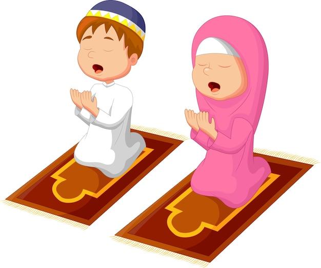 Criança muçulmana rezando Vetor Premium