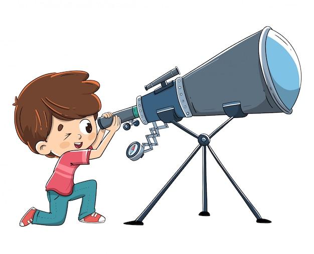 Criança, olhando, um, telescópio, em, espaço Vetor Premium