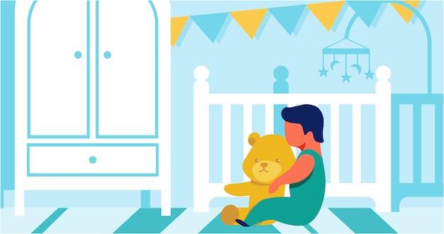 Criança pequena jogando sozinho com ursinho dos desenhos animados Vetor Premium
