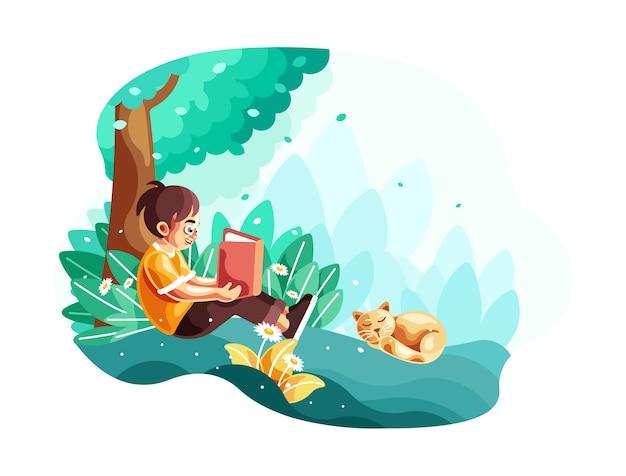 Criança pequena que lê um livro que senta-se sob a ilustração da árvore Vetor Premium