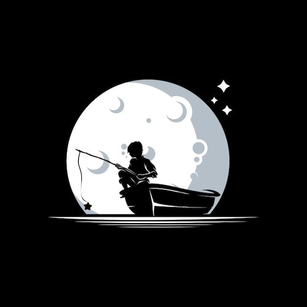 Criança pescando no modelo de design de logotipo de lua Vetor Premium