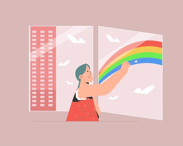 Criança pintando arco-íris Vetor Premium