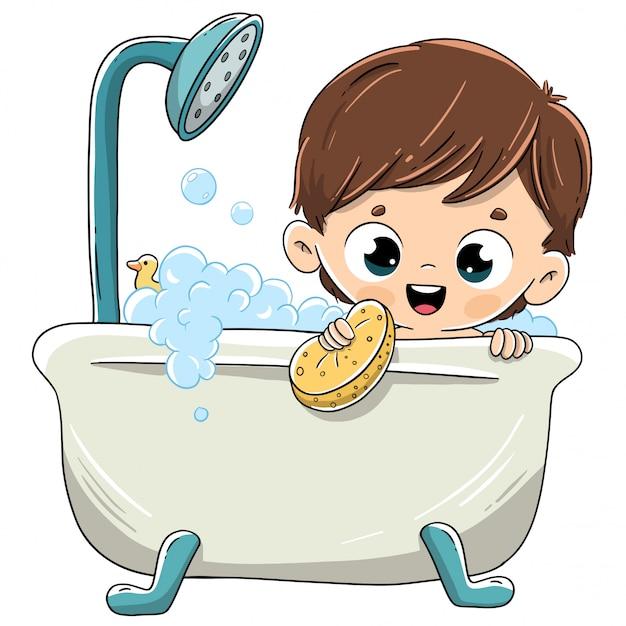 Criança tomando banho na banheira com espuma Vetor Premium