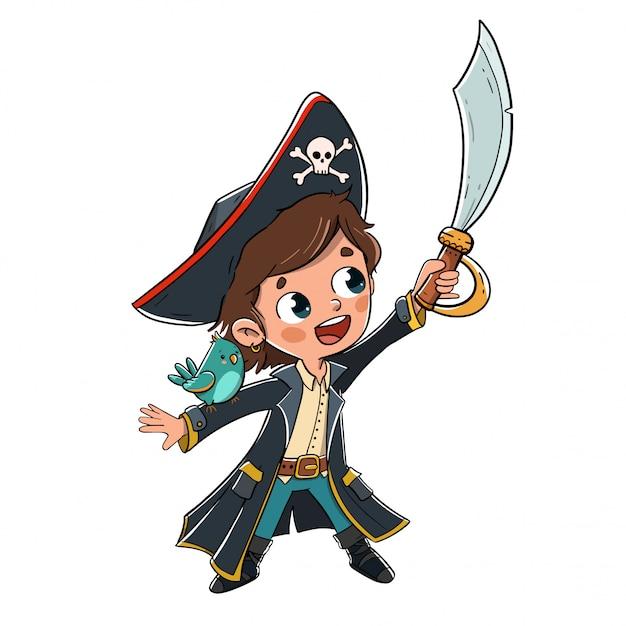 Criança, vestido, como, um, pirata, com, um, papagaio, ligado, seu, braço Vetor Premium