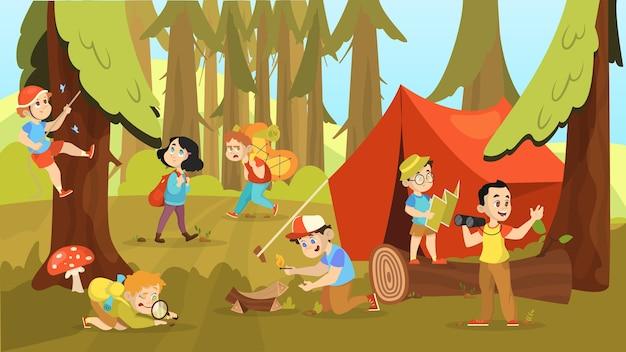 Crianças acampando. crianças caminhando com a mochila Vetor Premium