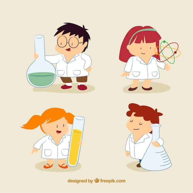 crianças agradáveis cientista no estilo dos desenhos animados