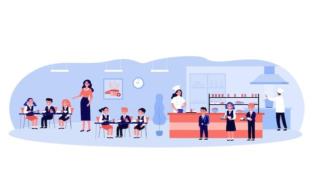 Crianças almoçando na cantina da escola. meninos e meninas uniformizados comendo no refeitório ou refeitório. ilustração para comida, cozinha escolar, serviço de bufê, conceito de serviço Vetor Premium