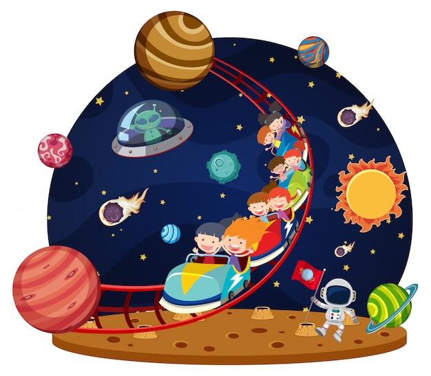 Crianças andando de montanha-russa espacial Vetor Premium
