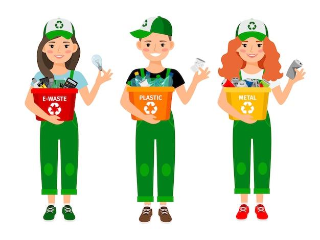Crianças aprendendo a reciclar lixo Vetor Premium