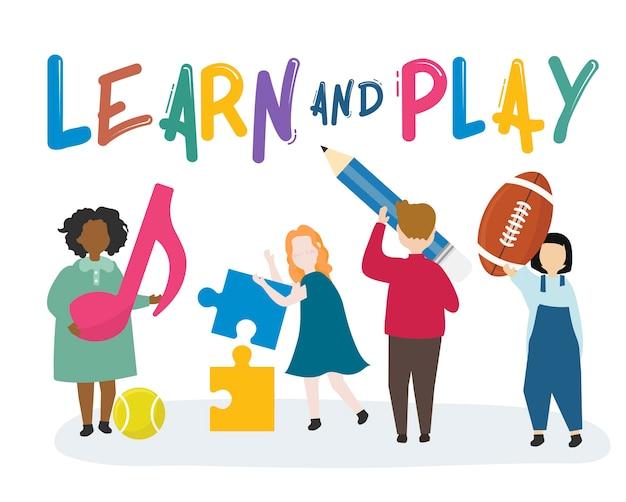 Crianças aprendendo e brincando de ilustração Vetor grátis