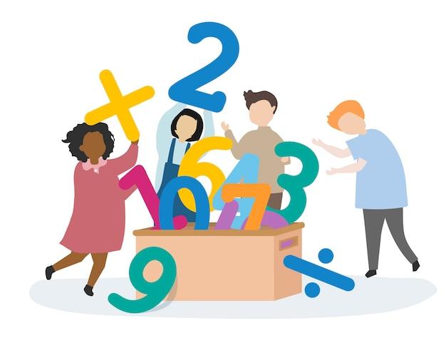 Crianças aprendendo números e matemática Vetor grátis
