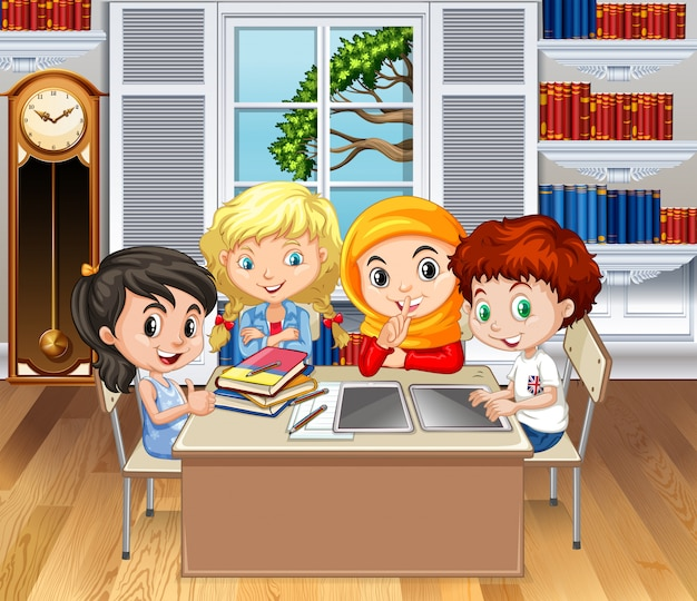 Crianças, aprendizagem, em, sala aula Vetor grátis
