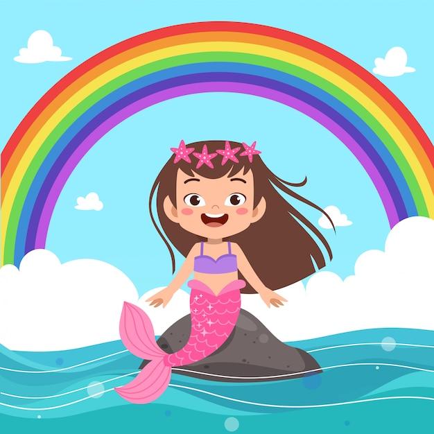 Crianças arco-íris sereia Vetor Premium