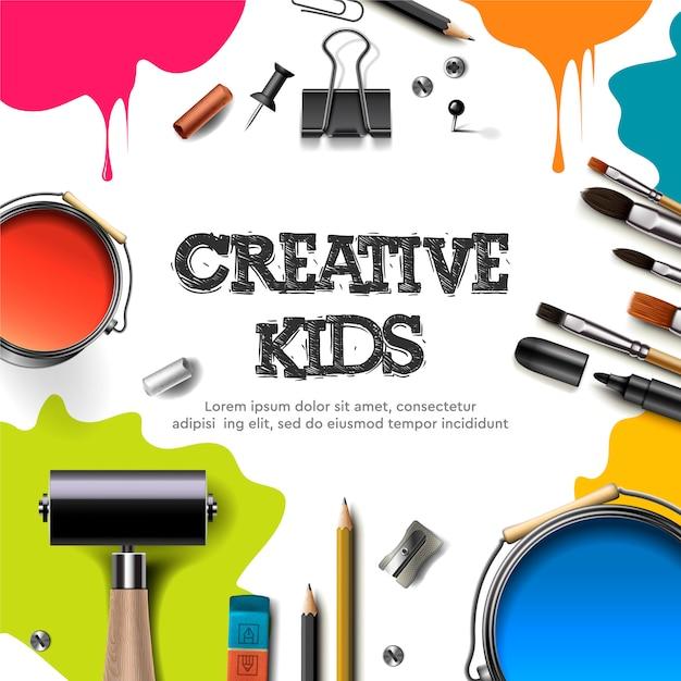 Crianças arte artesanato, educação, conceito de classe de criatividade. banner ou cartaz com fundo de papel quadrado branco, letras de mão desenhada, lápis, pincel, tintas. ilustração. Vetor Premium