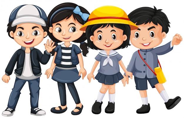 Crianças asiáticas com cara feliz Vetor Premium