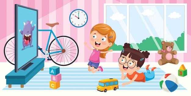 Crianças assistindo televisão no quarto Vetor Premium